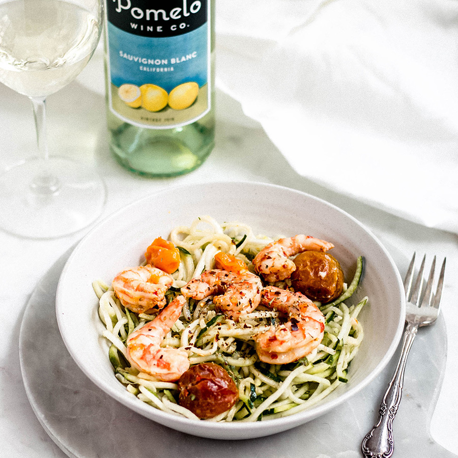 Zucchini Noodles with Shrimp and Tomatoes