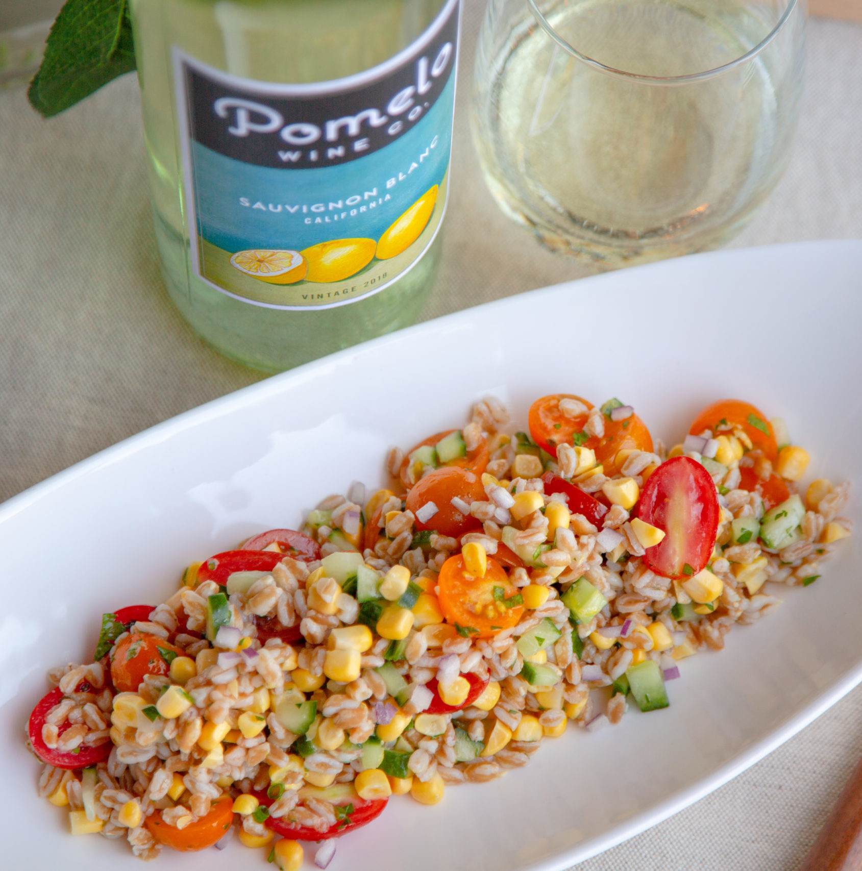 Farro, Summer Corn, Sweet 100 Tomatoes, and Lemon Salad