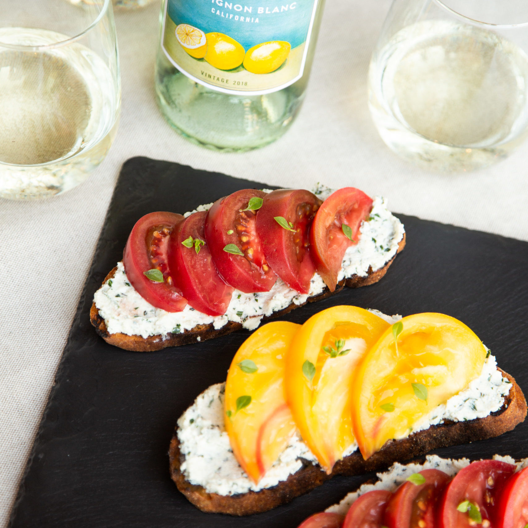 Bruschetta with Herbed Ricotta and Heirloom Tomatoes